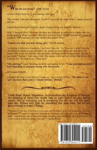 Kingdom of the Sun's Back Cover. It will also available in ebook for the nook, Apple products, Kindle, and more.